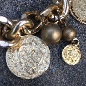Vintage Jewelry - Vintage 80s Chunky Coin Charm Bracelet